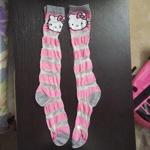 Hello Kitty Mesh Striped Socks (lowest)